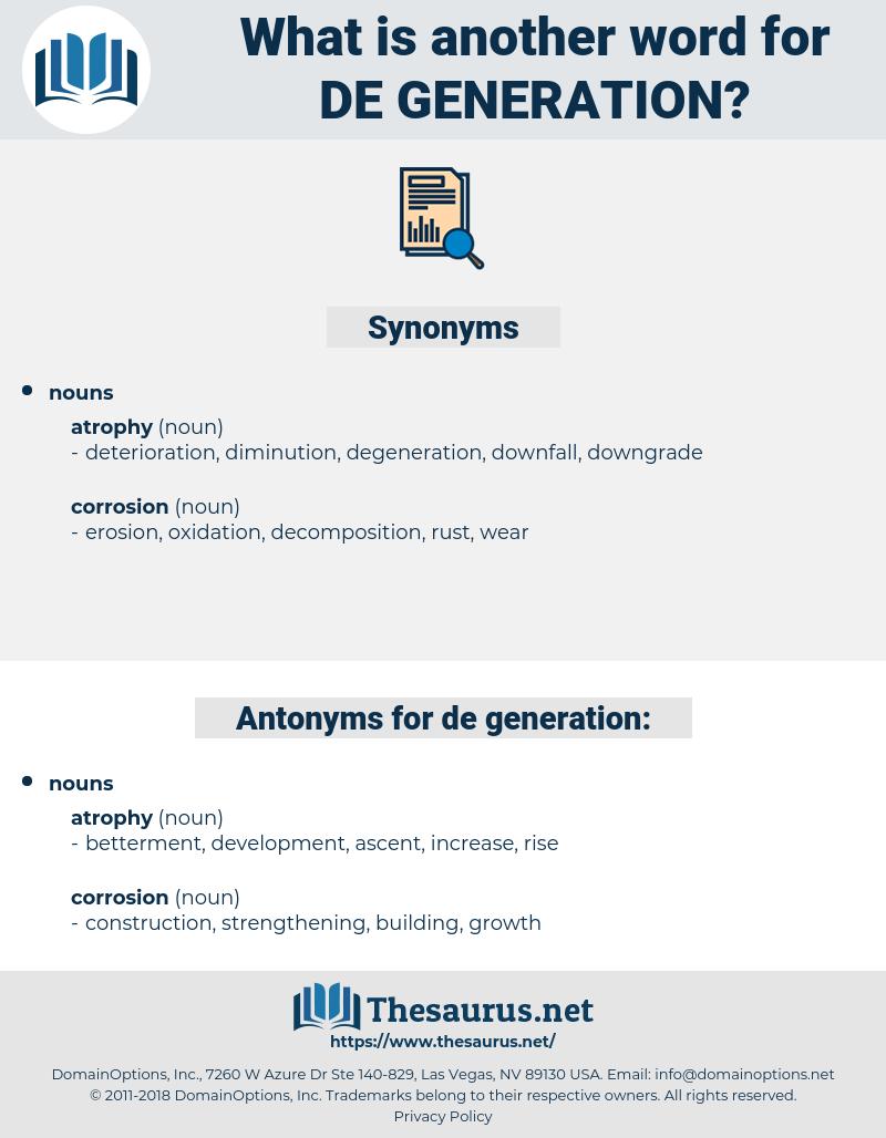 de generation, synonym de generation, another word for de generation, words like de generation, thesaurus de generation