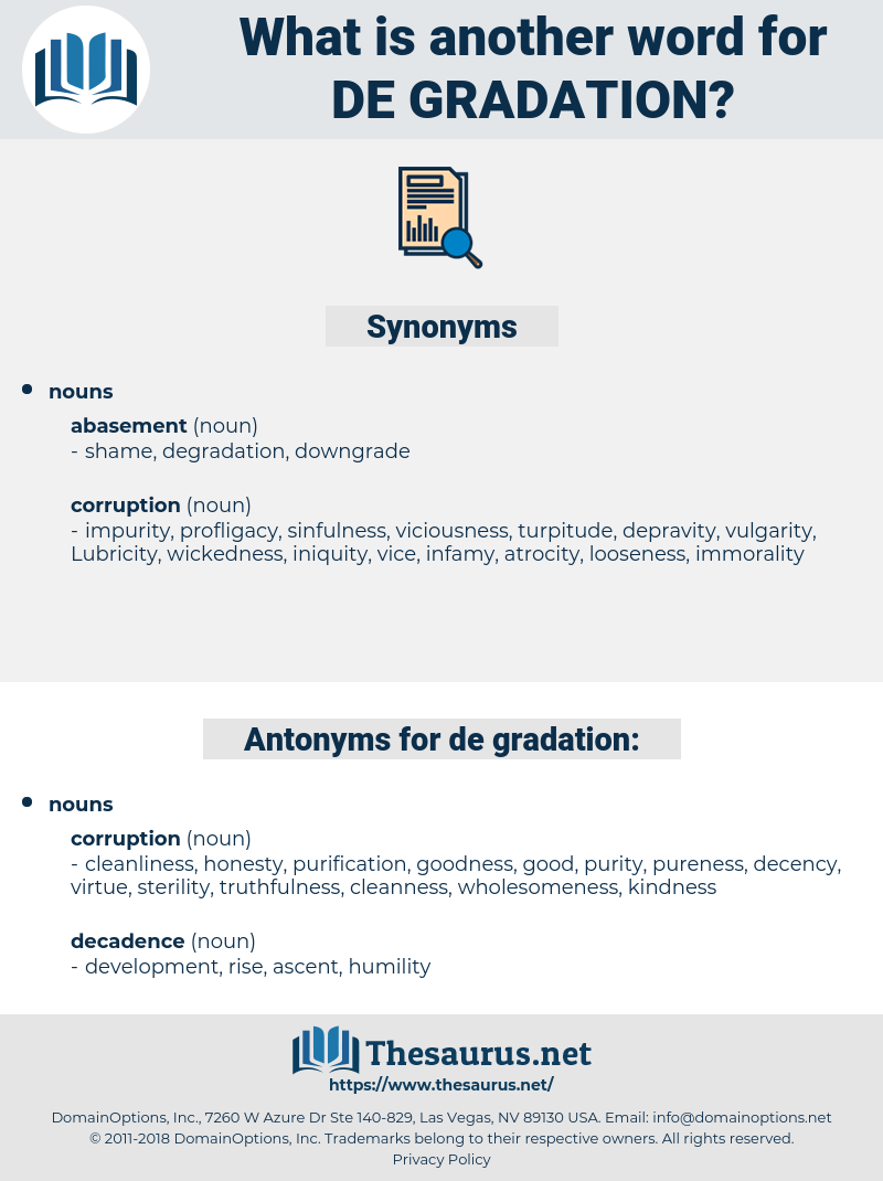 de-gradation, synonym de-gradation, another word for de-gradation, words like de-gradation, thesaurus de-gradation