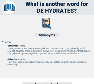 de-hydrates, synonym de-hydrates, another word for de-hydrates, words like de-hydrates, thesaurus de-hydrates
