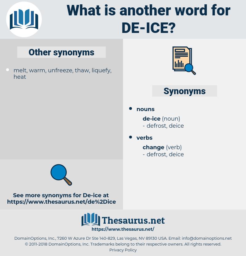 de-ice, synonym de-ice, another word for de-ice, words like de-ice, thesaurus de-ice
