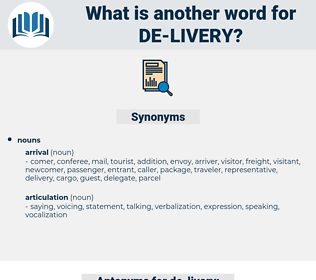 de-livery, synonym de-livery, another word for de-livery, words like de-livery, thesaurus de-livery
