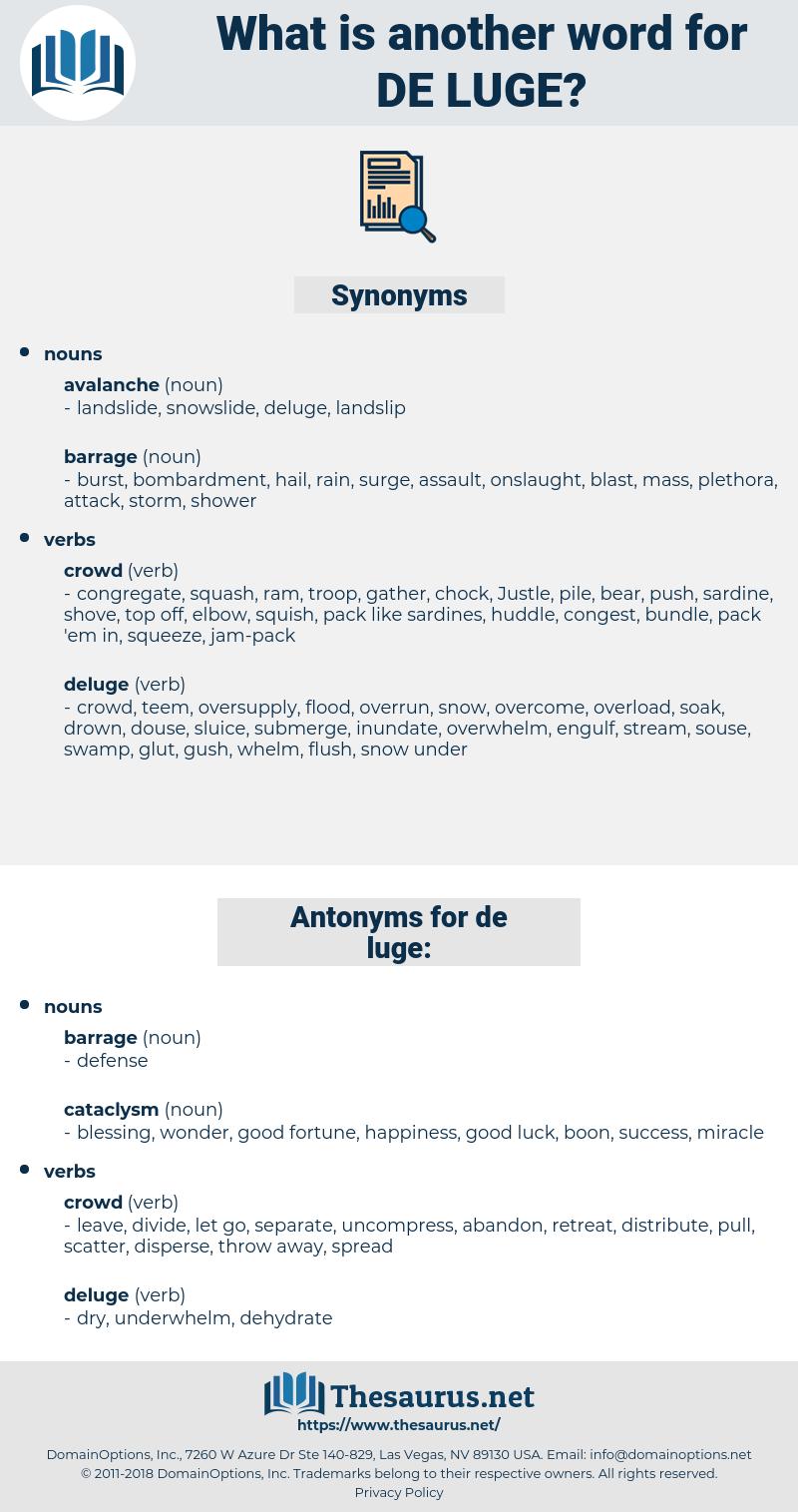 de-luge, synonym de-luge, another word for de-luge, words like de-luge, thesaurus de-luge