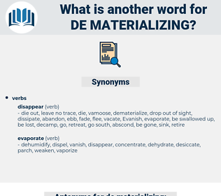 de materializing, synonym de materializing, another word for de materializing, words like de materializing, thesaurus de materializing