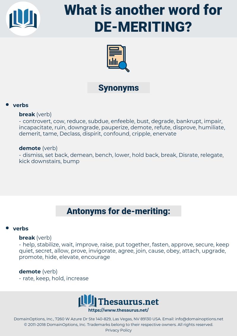 de meriting, synonym de meriting, another word for de meriting, words like de meriting, thesaurus de meriting