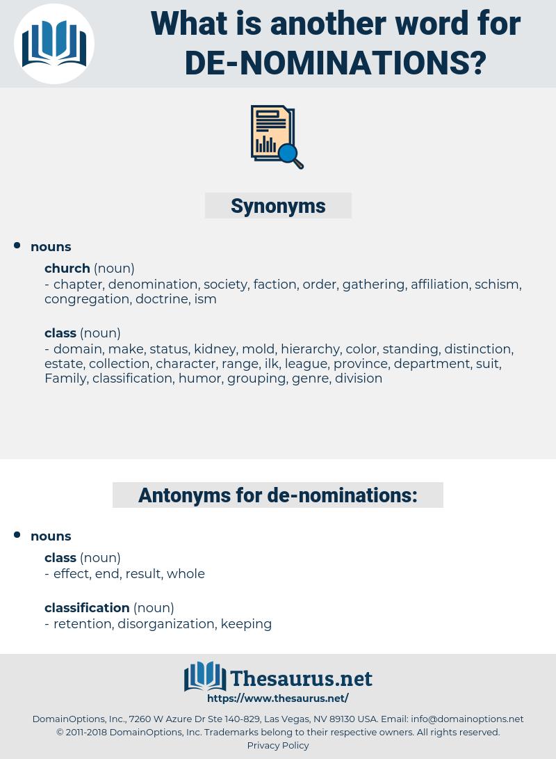 de-nominations, synonym de-nominations, another word for de-nominations, words like de-nominations, thesaurus de-nominations