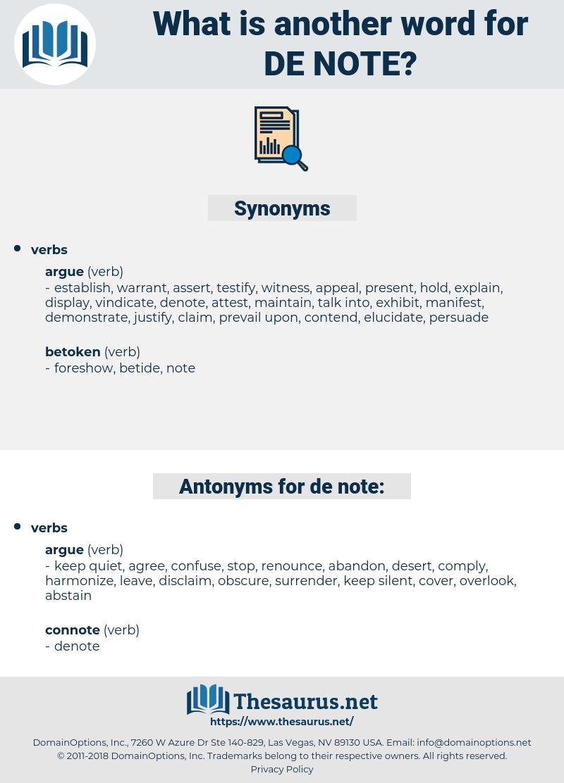 de note, synonym de note, another word for de note, words like de note, thesaurus de note