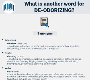 de-odorizing, synonym de-odorizing, another word for de-odorizing, words like de-odorizing, thesaurus de-odorizing