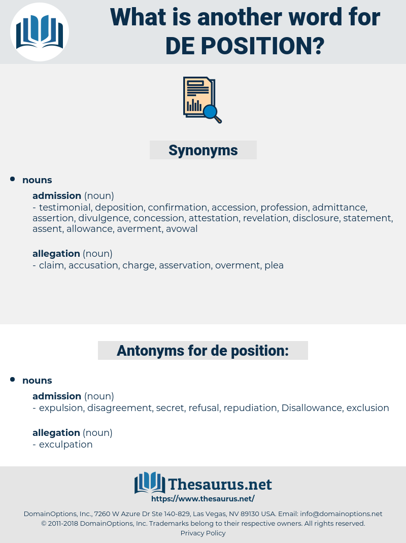 de position, synonym de position, another word for de position, words like de position, thesaurus de position