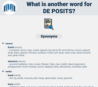 de-posits, synonym de-posits, another word for de-posits, words like de-posits, thesaurus de-posits