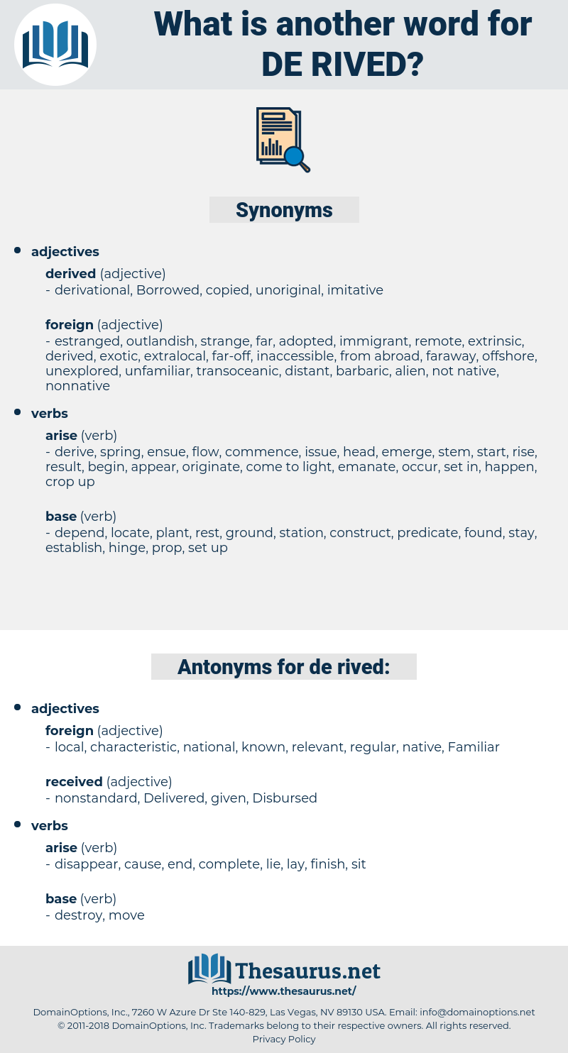 de-rived, synonym de-rived, another word for de-rived, words like de-rived, thesaurus de-rived