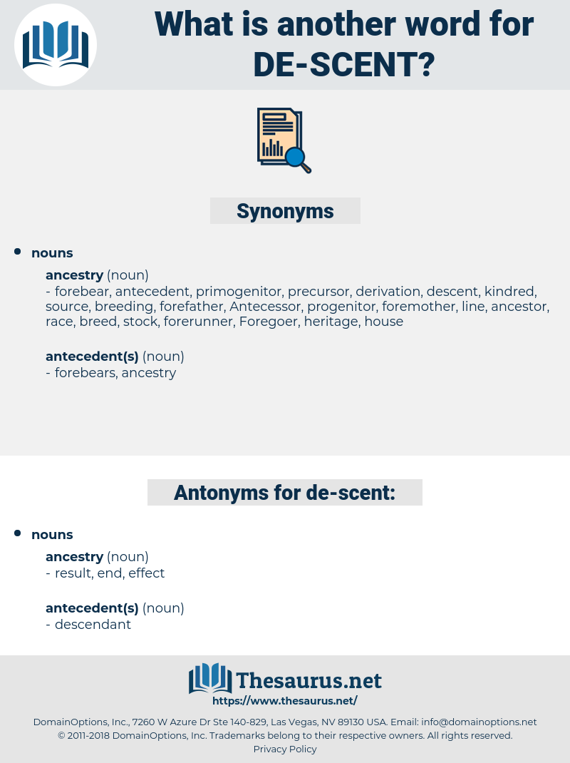 de scent, synonym de scent, another word for de scent, words like de scent, thesaurus de scent