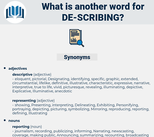 de-scribing, synonym de-scribing, another word for de-scribing, words like de-scribing, thesaurus de-scribing