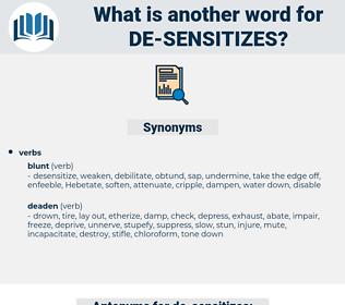 de-sensitizes, synonym de-sensitizes, another word for de-sensitizes, words like de-sensitizes, thesaurus de-sensitizes