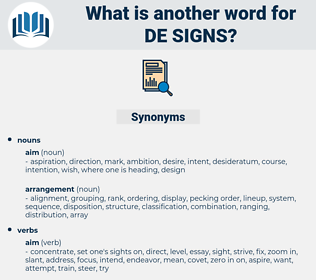 de signs, synonym de signs, another word for de signs, words like de signs, thesaurus de signs
