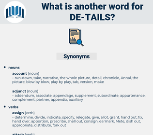 de tails, synonym de tails, another word for de tails, words like de tails, thesaurus de tails