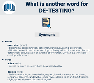 de testing, synonym de testing, another word for de testing, words like de testing, thesaurus de testing