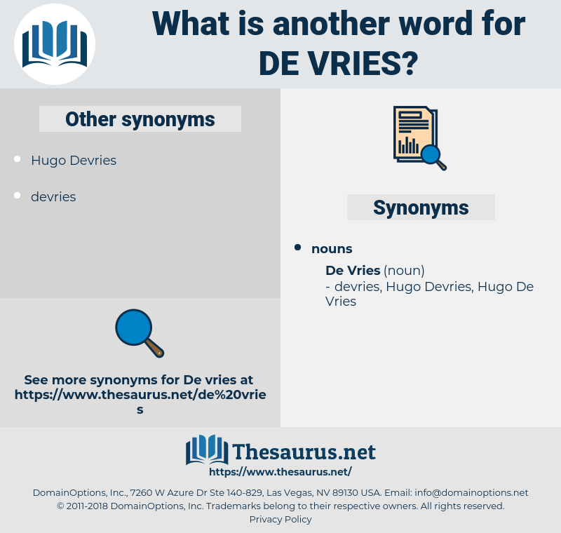 De Vries, synonym De Vries, another word for De Vries, words like De Vries, thesaurus De Vries