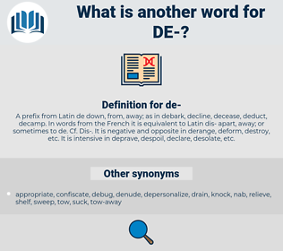 de, synonym de, another word for de, words like de, thesaurus de