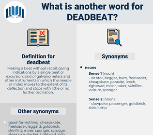 deadbeat, synonym deadbeat, another word for deadbeat, words like deadbeat, thesaurus deadbeat