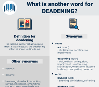 deadening, synonym deadening, another word for deadening, words like deadening, thesaurus deadening