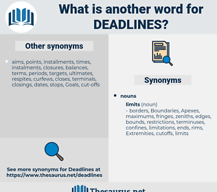 deadlines, synonym deadlines, another word for deadlines, words like deadlines, thesaurus deadlines