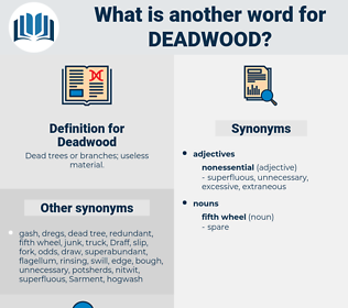 Deadwood, synonym Deadwood, another word for Deadwood, words like Deadwood, thesaurus Deadwood