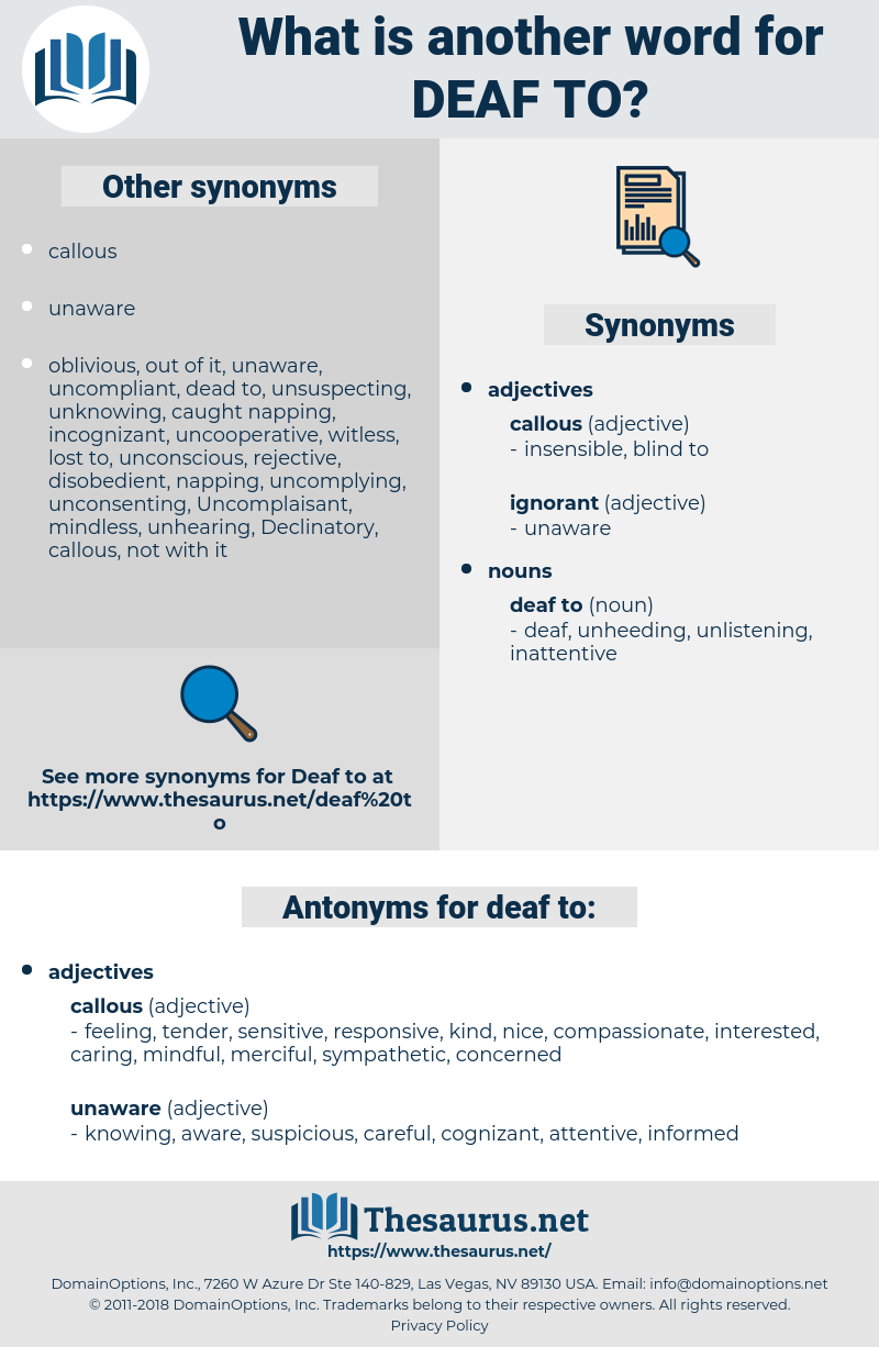 deaf to, synonym deaf to, another word for deaf to, words like deaf to, thesaurus deaf to