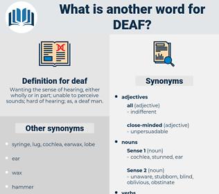 deaf, synonym deaf, another word for deaf, words like deaf, thesaurus deaf