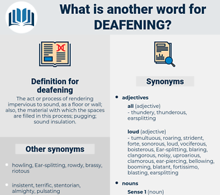 deafening, synonym deafening, another word for deafening, words like deafening, thesaurus deafening