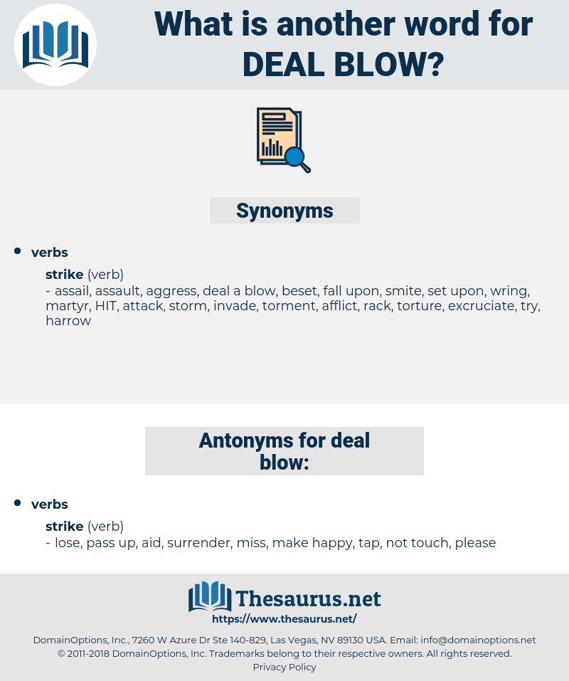 deal blow, synonym deal blow, another word for deal blow, words like deal blow, thesaurus deal blow