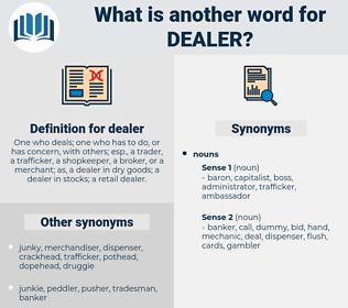 dealer, synonym dealer, another word for dealer, words like dealer, thesaurus dealer