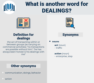 dealings, synonym dealings, another word for dealings, words like dealings, thesaurus dealings