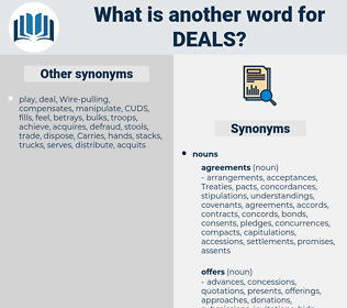 deals, synonym deals, another word for deals, words like deals, thesaurus deals