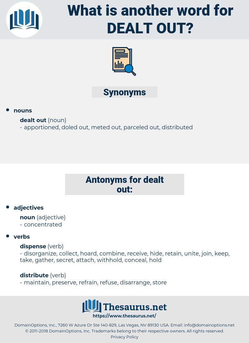 Synonyms For Dealt Out Antonyms For Dealt Out Thesaurus Net