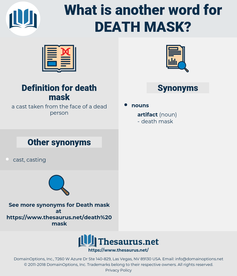 death mask, synonym death mask, another word for death mask, words like death mask, thesaurus death mask