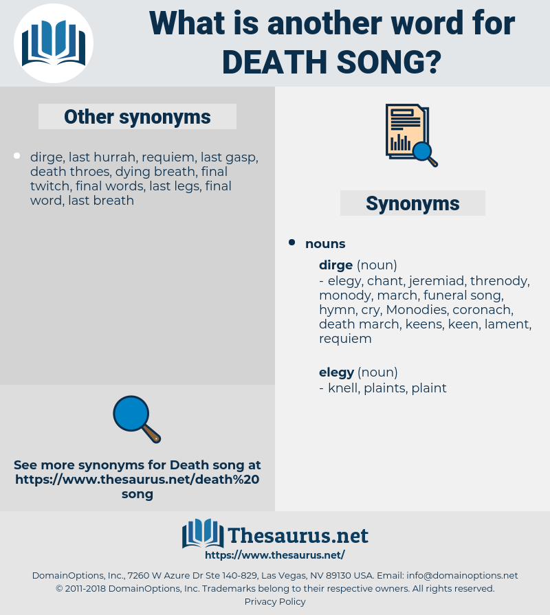 death song, synonym death song, another word for death song, words like death song, thesaurus death song