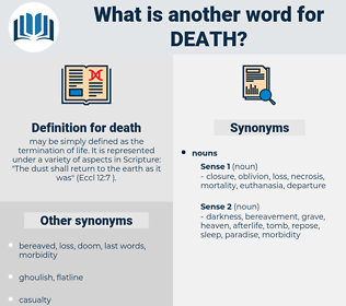 death, synonym death, another word for death, words like death, thesaurus death