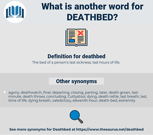 deathbed, synonym deathbed, another word for deathbed, words like deathbed, thesaurus deathbed