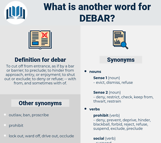 debar, synonym debar, another word for debar, words like debar, thesaurus debar