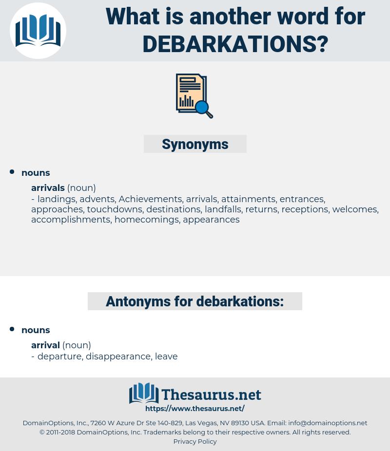 debarkations, synonym debarkations, another word for debarkations, words like debarkations, thesaurus debarkations