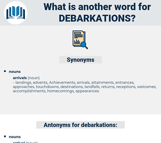 debarkations, synonym debarkations, another word for debarkations, words like debarkations, thesaurus debarkations