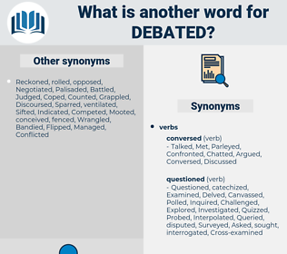 Debated, synonym Debated, another word for Debated, words like Debated, thesaurus Debated