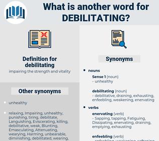 debilitating, synonym debilitating, another word for debilitating, words like debilitating, thesaurus debilitating