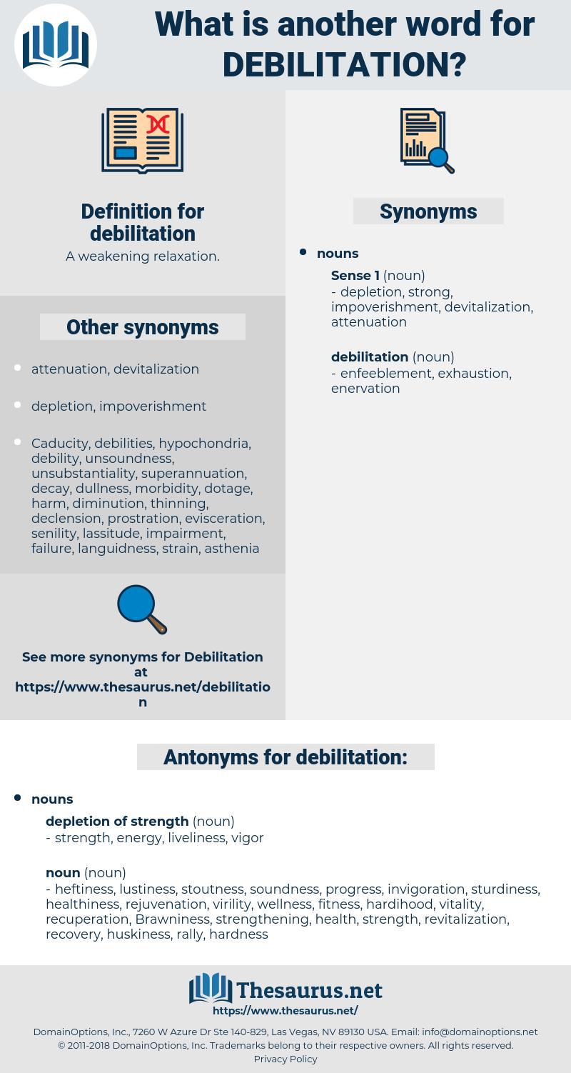 debilitation, synonym debilitation, another word for debilitation, words like debilitation, thesaurus debilitation