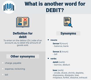 debit, synonym debit, another word for debit, words like debit, thesaurus debit