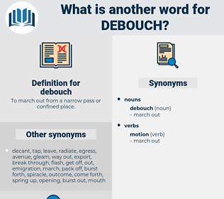 debouch, synonym debouch, another word for debouch, words like debouch, thesaurus debouch