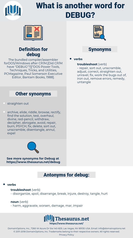 debug, synonym debug, another word for debug, words like debug, thesaurus debug