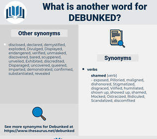 debunked, synonym debunked, another word for debunked, words like debunked, thesaurus debunked