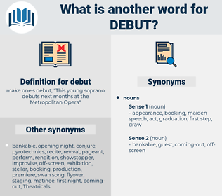 debut, synonym debut, another word for debut, words like debut, thesaurus debut