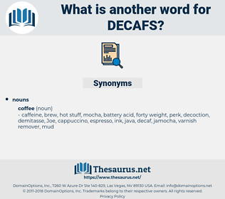 decafs, synonym decafs, another word for decafs, words like decafs, thesaurus decafs